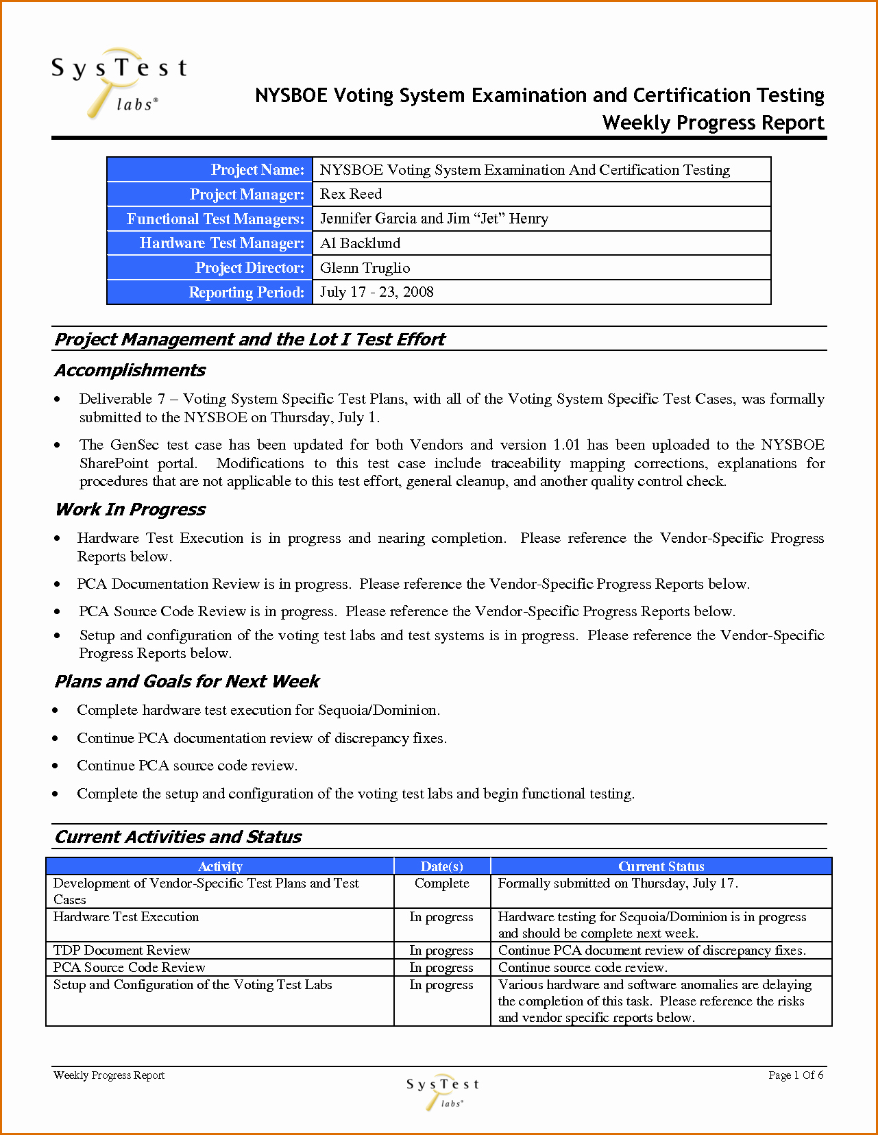 Project Management Progress Report Template Elegant 12 Weekly Progress Report Template