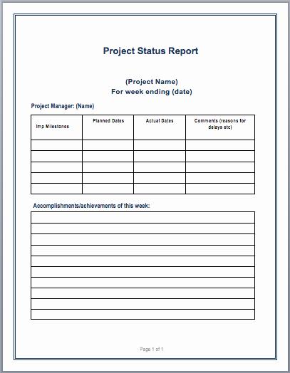 Project Management Progress Report Template Elegant Project Status Report Template – Microsoft Word Templates