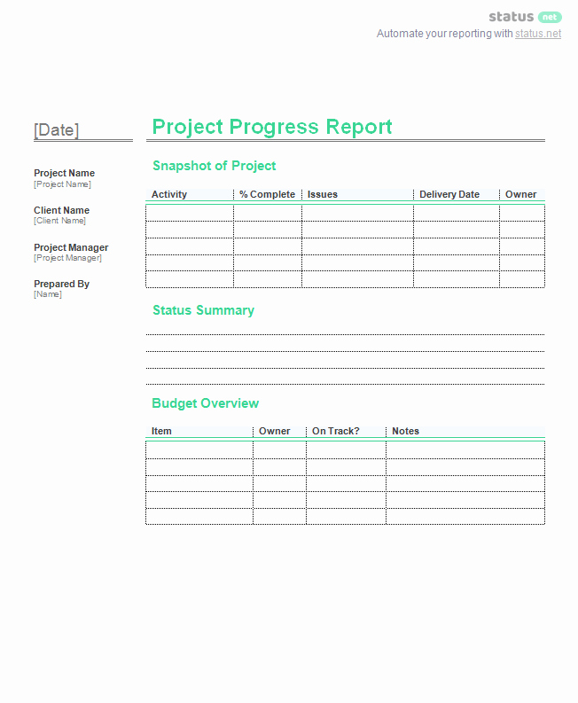 Project Management Progress Report Template Inspirational 2 Incredible Project Progress Report Templates
