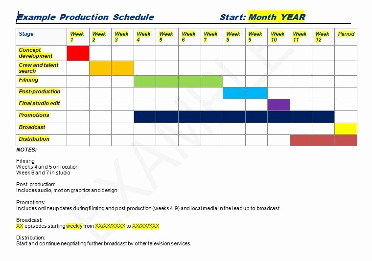 Project Management Schedule Template Excel Elegant Production Schedule Template Excel & Word