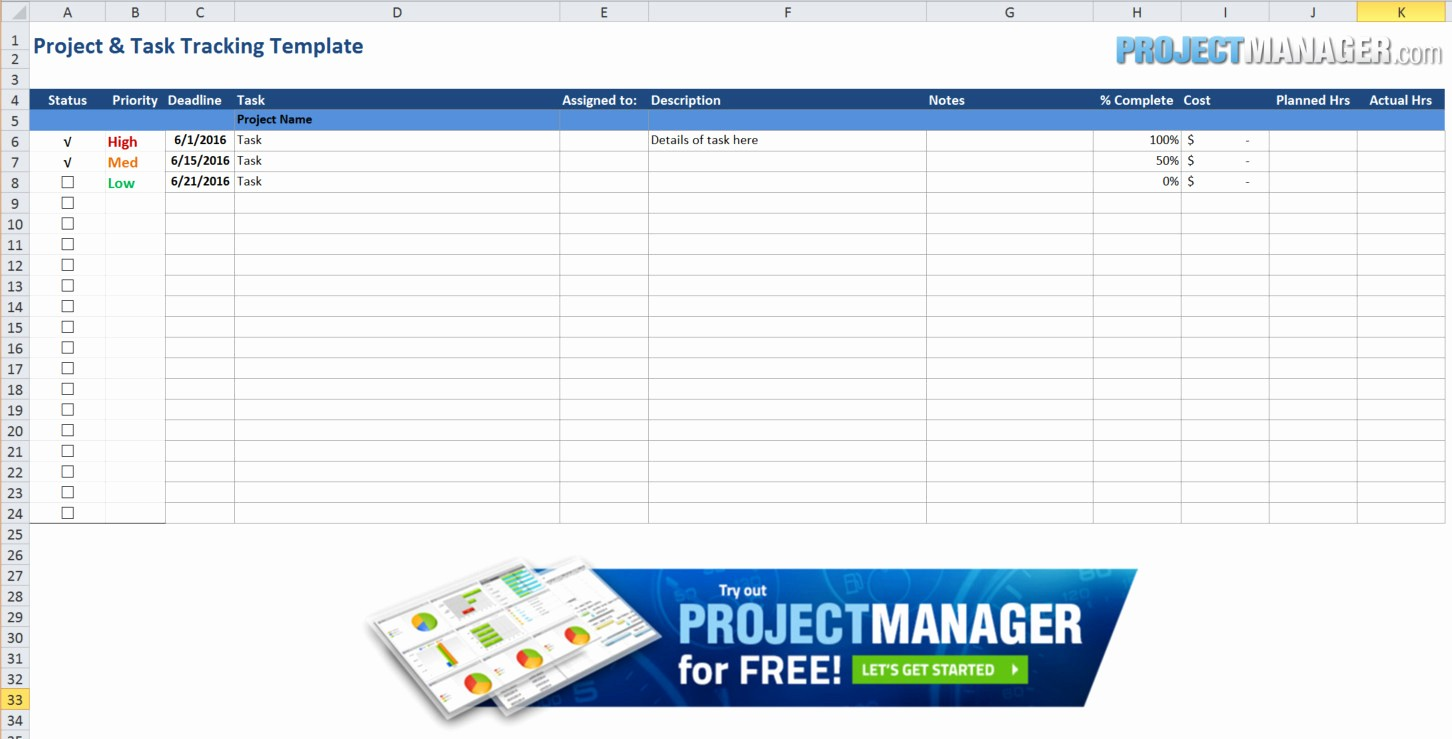 Project Management Spreadsheet Template Excel Awesome Guide to Excel Project Management Projectmanager