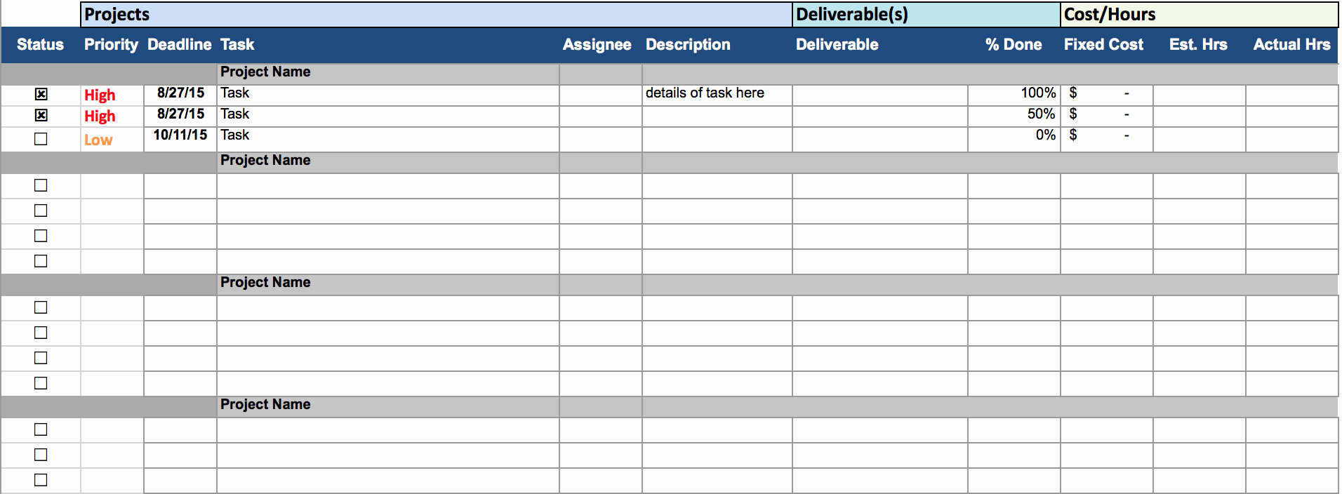 Project Management Spreadsheet Template Excel Inspirational Multiple Project Tracking Template Excel