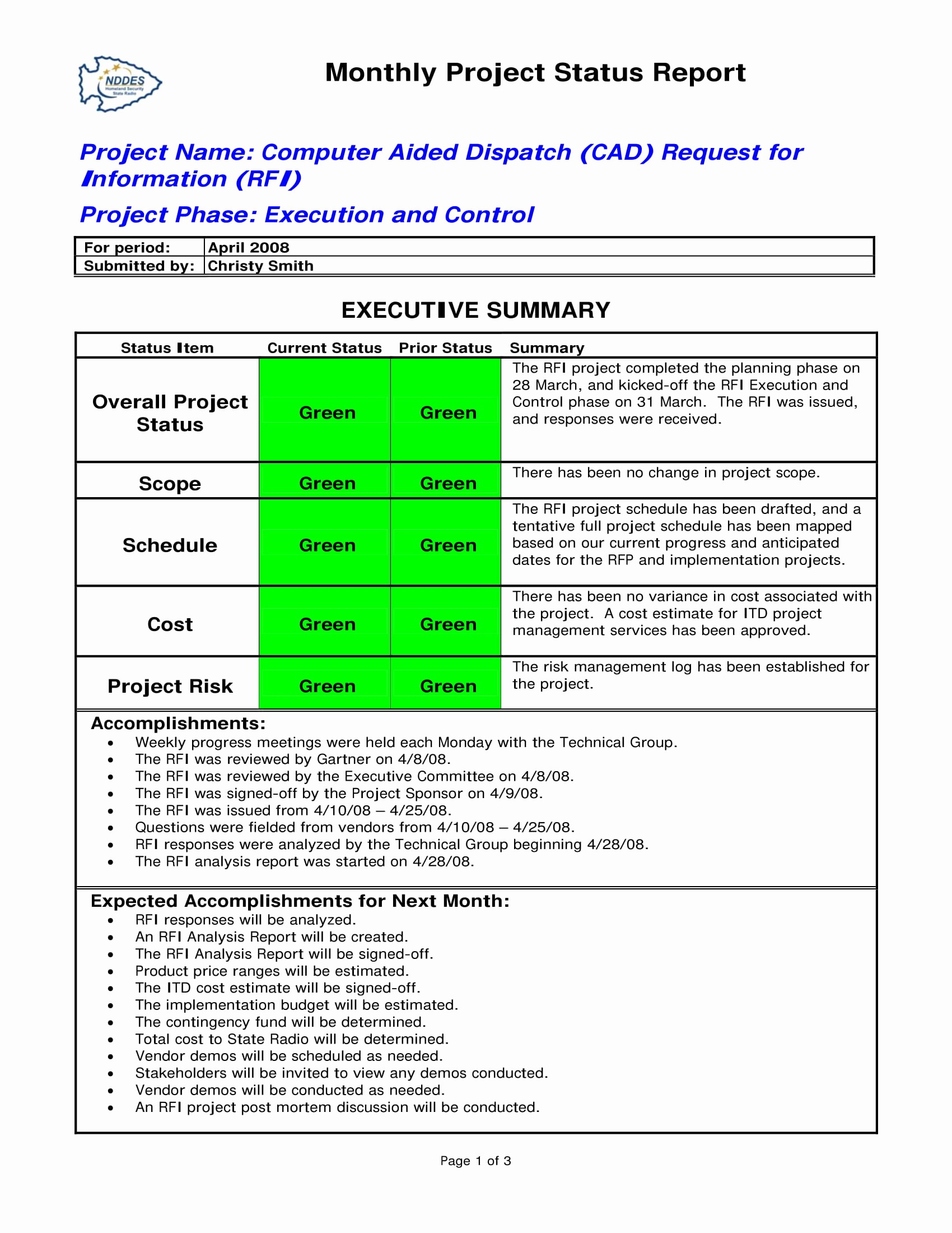 Project Management Status Report Example Awesome 9 Status Report Examples Doc Pdf