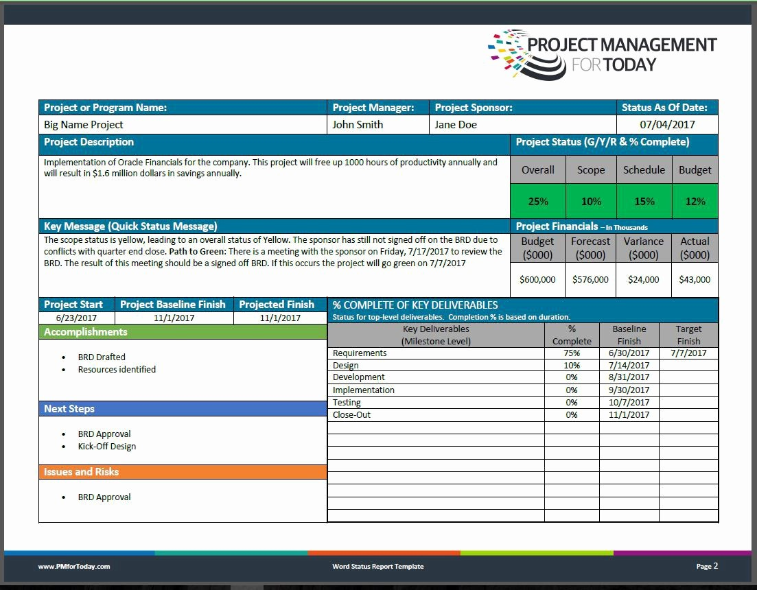 Project Management Status Report Example Lovely Program Report Template 92 Project Performance Reporting