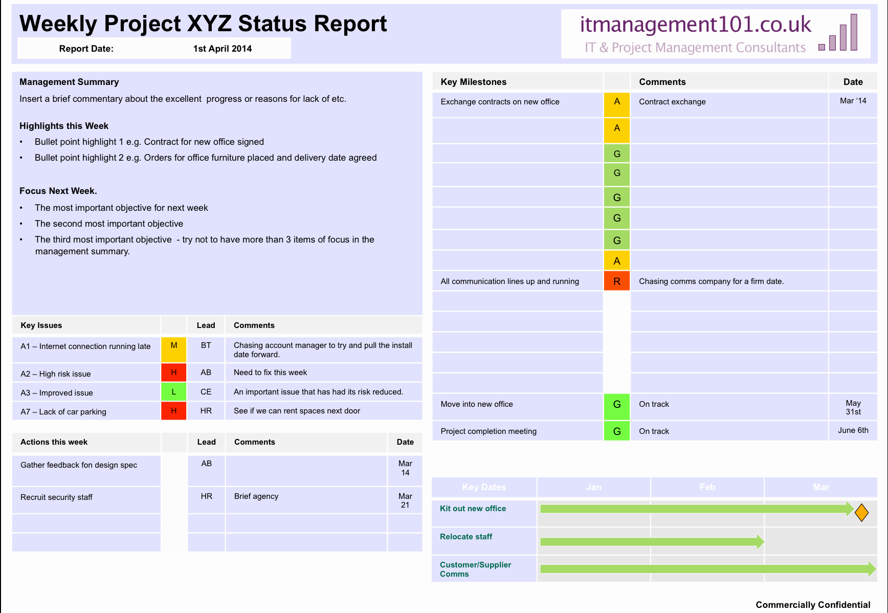 Project Management Status Report Example Unique Project Summary On A Page Status Template Single Page Report