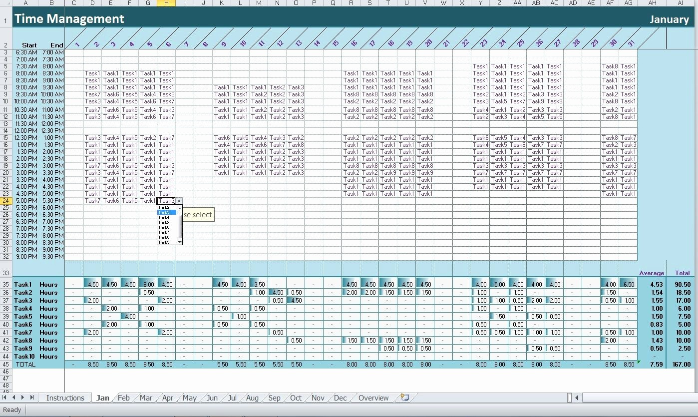 Project Management Time Tracking Excel Lovely Time&task Tracker Excel Template Activity Diary
