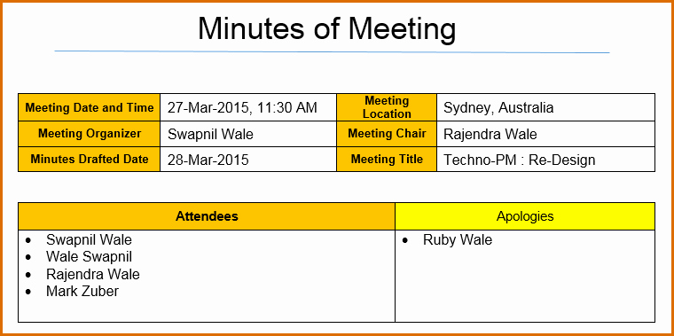 Project Meeting Minutes Template Excel Fresh 12 Meeting Minutes Template Excel