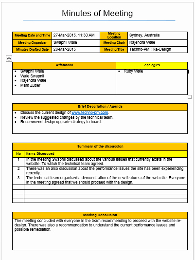 Project Meeting Minutes Template Excel Lovely Meeting Minutes Template Excel and Word Free Download