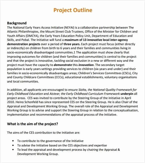Project Outline Template Microsoft Word Fresh 10 Project Outline Templates Word Excel Pdf formats