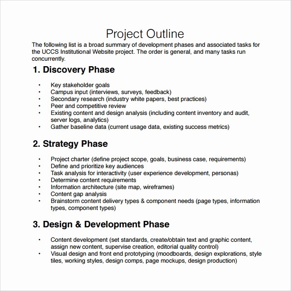 Project Outline Template Microsoft Word New 10 Sample Project Outline Templates to Download