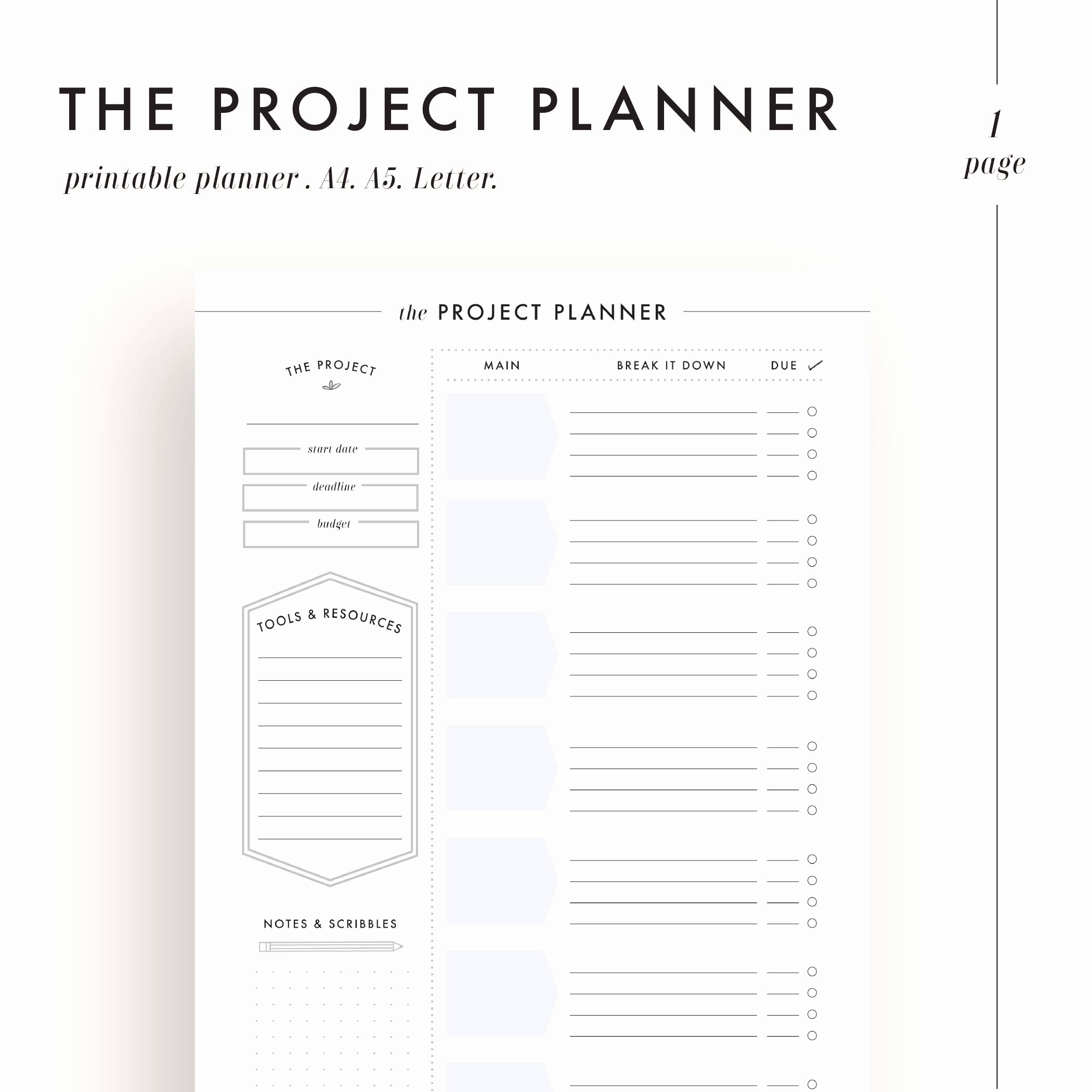 Project Planning Template for Students Luxury Project Planner Productivity Planner Project Management