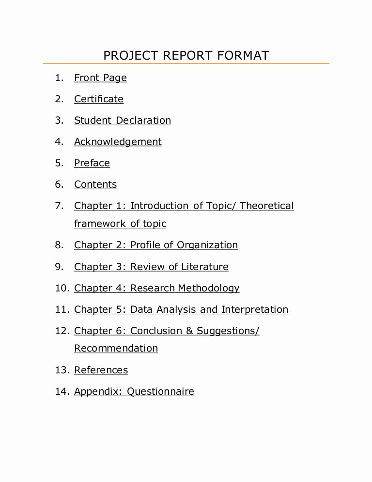 Project Report format In Word Inspirational Project Report format
