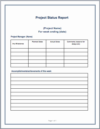 Project Report format In Word Lovely Project Status Report Template – Microsoft Word Templates