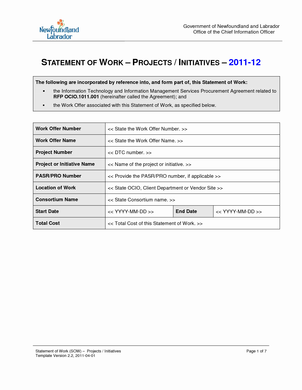 Project Statement Of Work Template Beautiful Statement Work Template