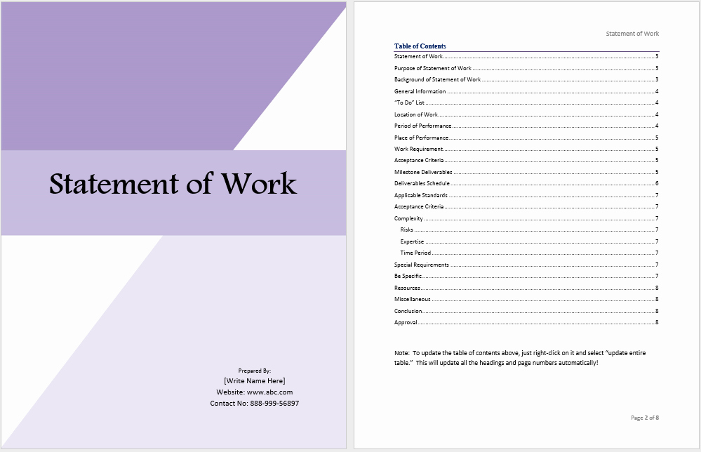 Project Statement Of Work Template Best Of Statement Of Work Template Ms Fice Documents