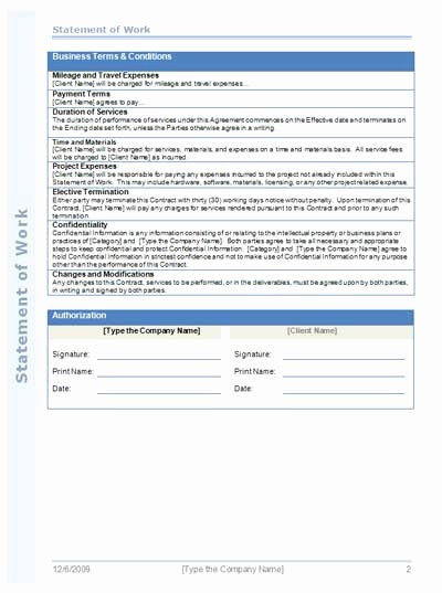 Project Statement Of Work Template Best Of Statement Work Template