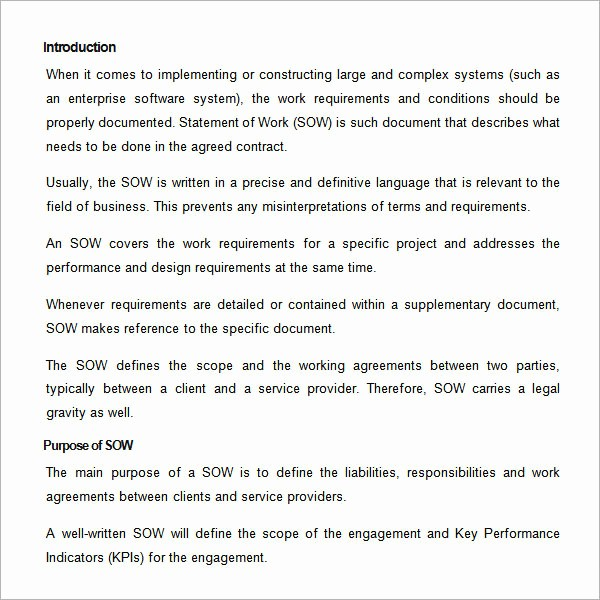 Project Statement Of Work Template Fresh 13 Statement Of Work Templates