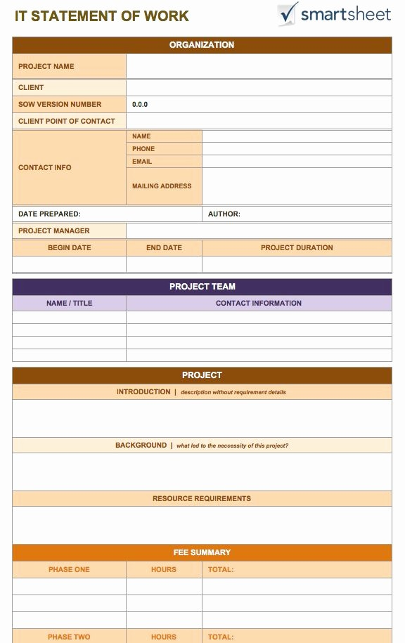 Project Statement Of Work Template Fresh Free Statement Of Work Templates Smartsheet