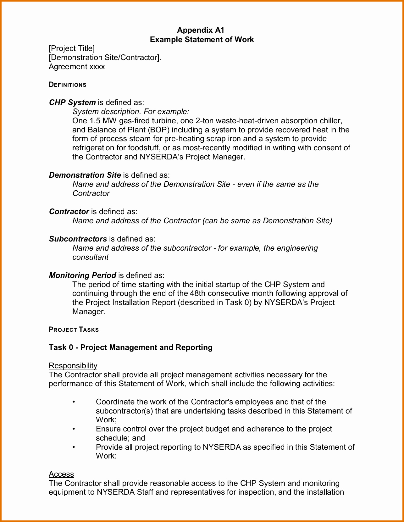 Project Statement Of Work Template Inspirational 8 Statement Of Work Templatereference Letters Words