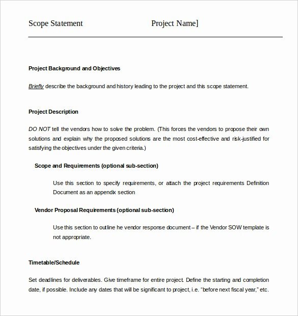 Project Statement Of Work Template Lovely 17 Project Template Doc Pdf Ppt