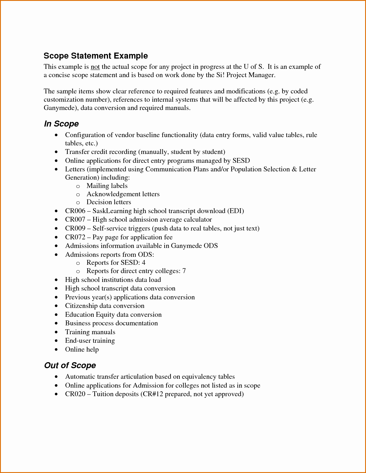 Project Statement Of Work Template Lovely 7 Scope Of Work Example