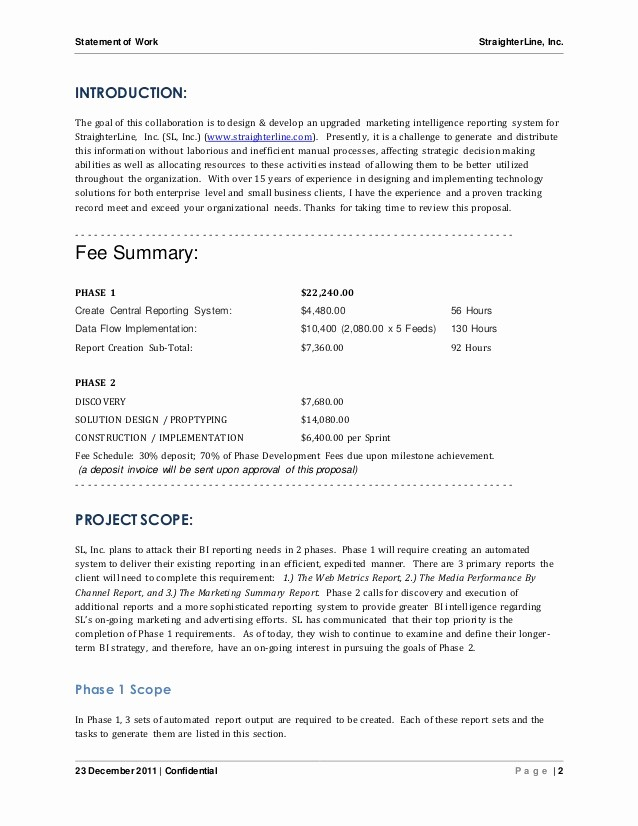 Project Statement Of Work Template Lovely software Project Statement Of Work Document Sample