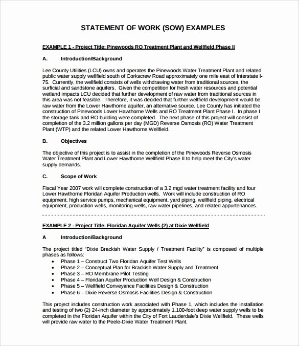 Project Statement Of Work Template Luxury 13 Statement Of Work Templates