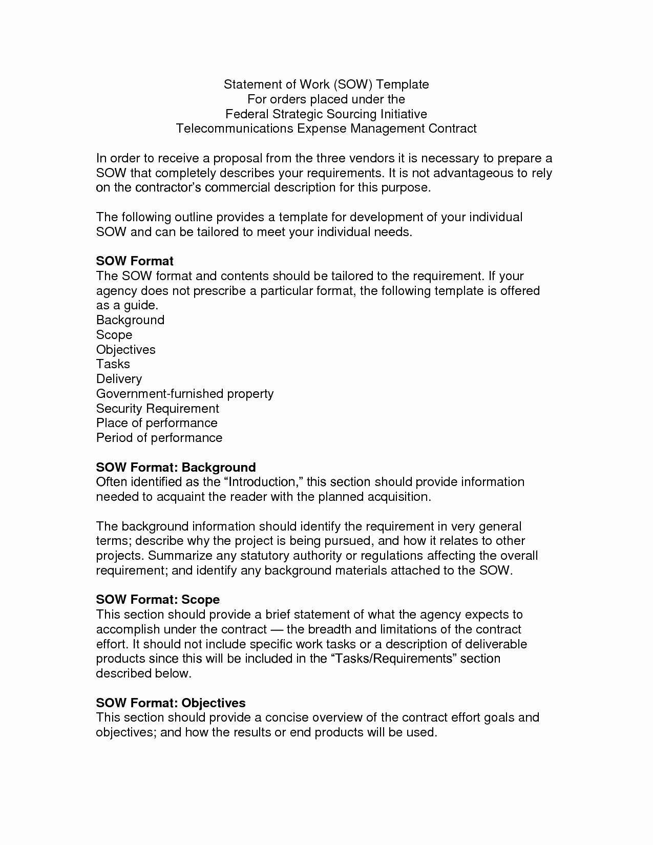 Project Statement Of Work Template New Statement Of Work sow Template Doc by Kqv Free