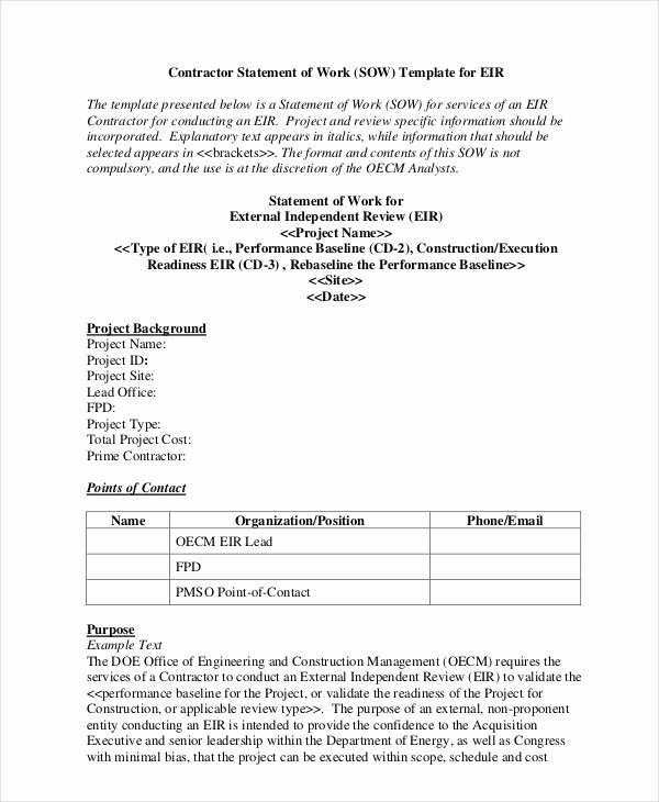 Project Statement Of Work Template New Statement Of Work Template 12 Free Pdf Word Excel