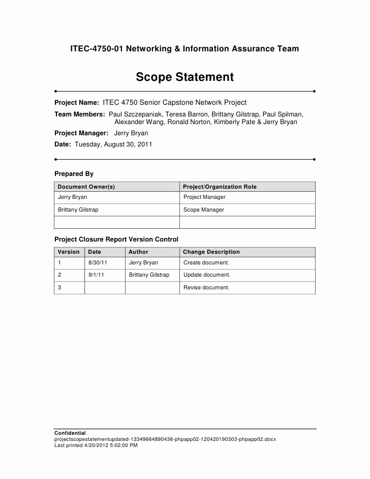 Project Statement Of Work Template Unique Project Scope Statement