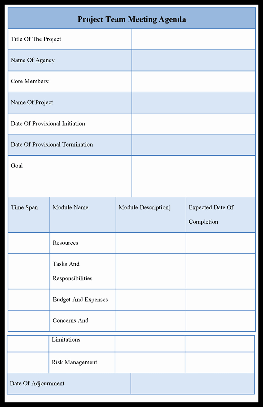 Project Team Meeting Agenda Template Fresh Agenda Outline Example Mughals