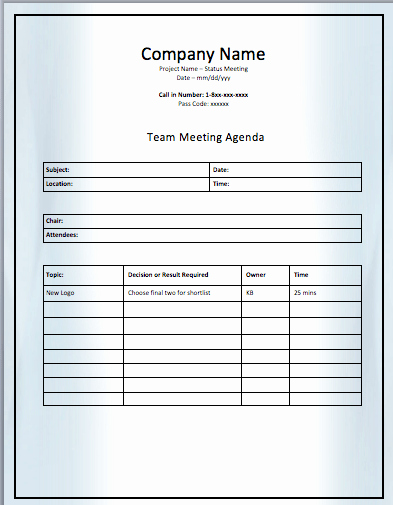 Project Team Meeting Agenda Template Fresh Project Team Meeting Agenda Template