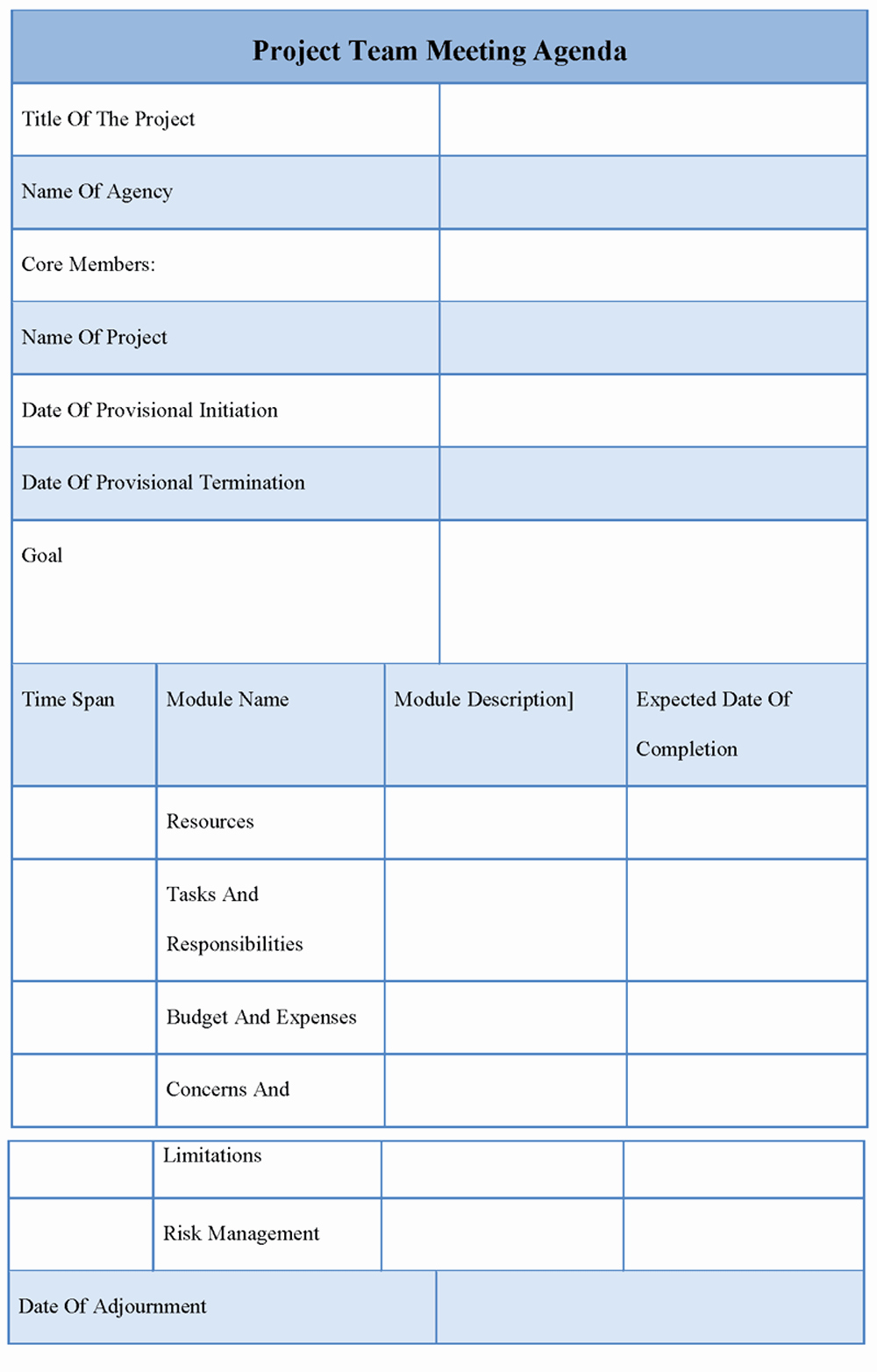 Project Team Meeting Agenda Template Lovely Agenda Template for Project Team Meeting Template Of