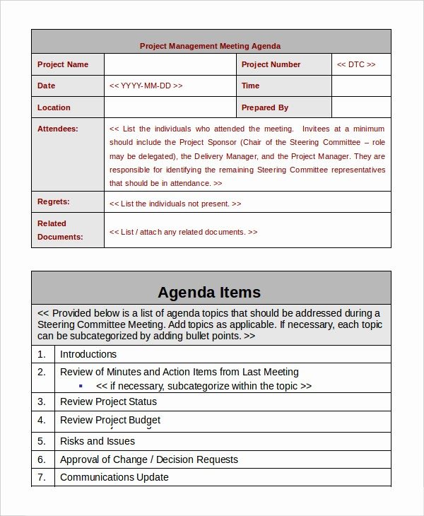 Project Team Meeting Agenda Template Luxury Project Management Template 10 Free Word Pdf Documents
