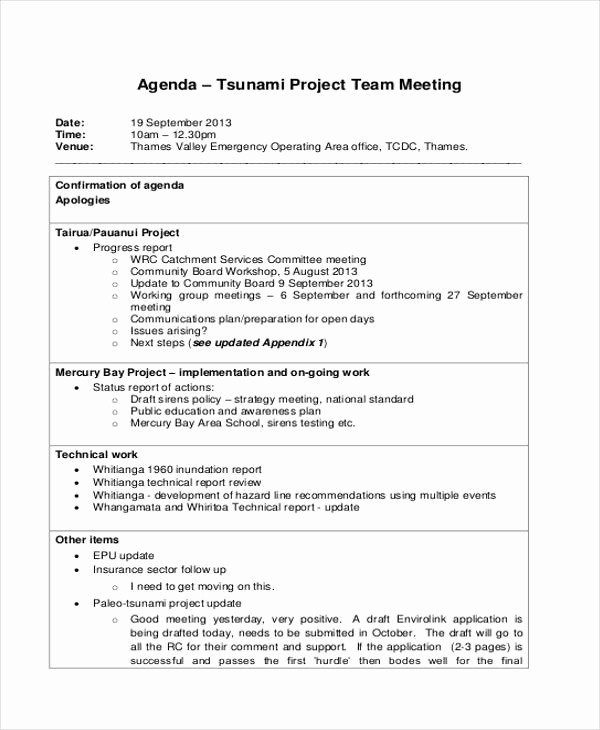 Project Team Meeting Agenda Template New 33 Agenda Template Designs