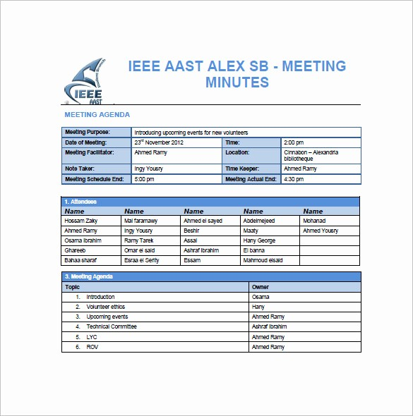 Project Team Meeting Agenda Template New Project Meeting Minutes Templates 10 Free Sample
