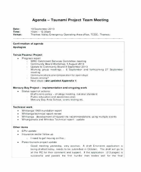 Project Team Meeting Agenda Template New Project Status Meeting Agenda Template Management Sample
