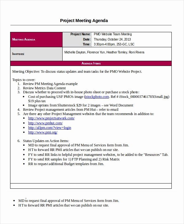Project Team Meeting Agenda Template Unique Project Agenda Template 6 Free Word Pdf Documents