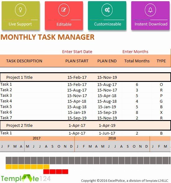 Project to Do List Excel Elegant Monthly Project Task Manager Template Xlsx format