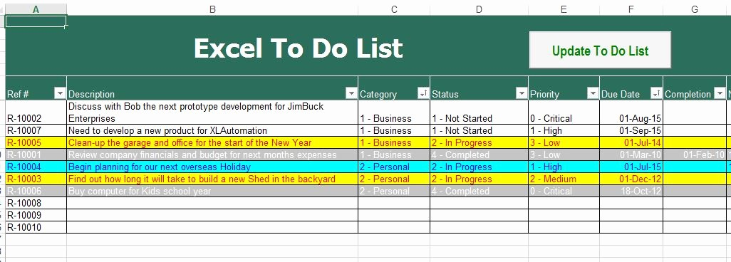 Project to Do List Excel Elegant to Do List Excel Template