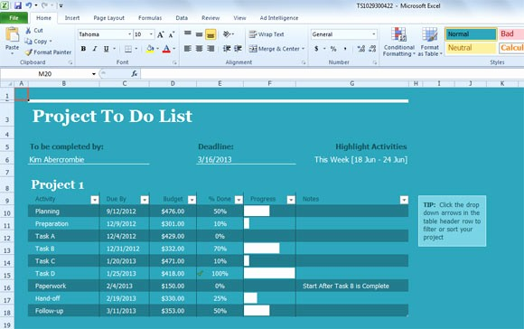 Project to Do List Excel Fresh Best Project Management Templates for Excel