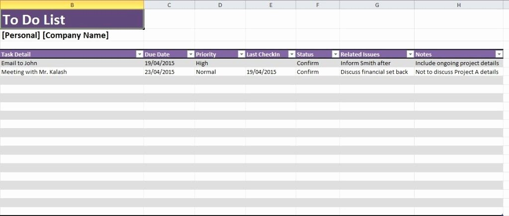 Project to Do List Excel Luxury Daily Task List Template Excel Spreadsheet