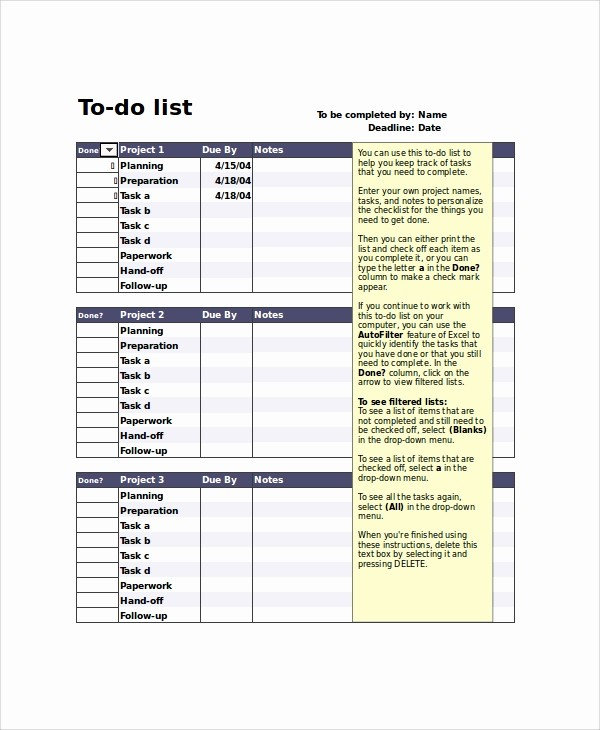 Project to Do List Excel New 8 Printable to Do List Samples