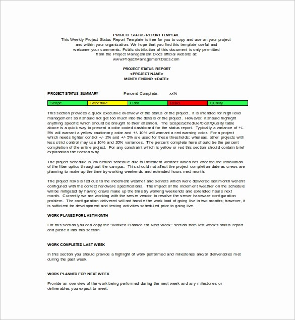 Project Weekly Status Report Template Best Of 18 Sample Weekly Status Report Templates – Pdf Word