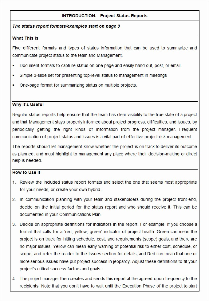 Project Weekly Status Report Template Fresh Sample Project Status Report Template 10 Free Word Pdf