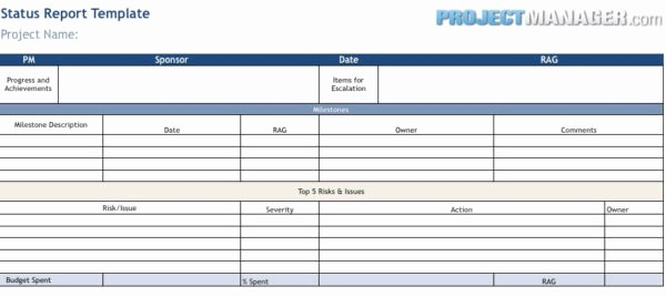 Project Weekly Status Report Template Fresh Status Report Template
