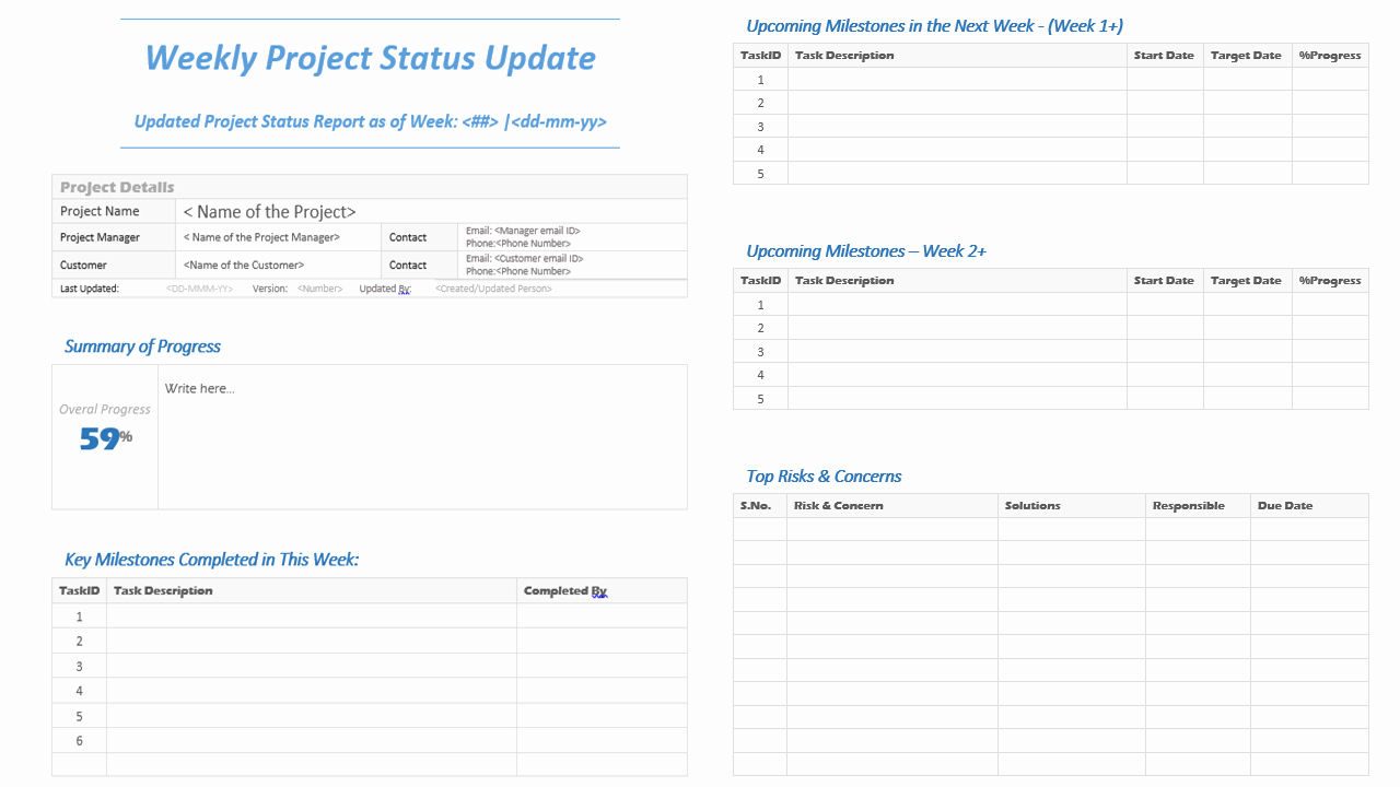 Project Weekly Status Report Template Inspirational Weekly Project Status Update Template Analysistabs