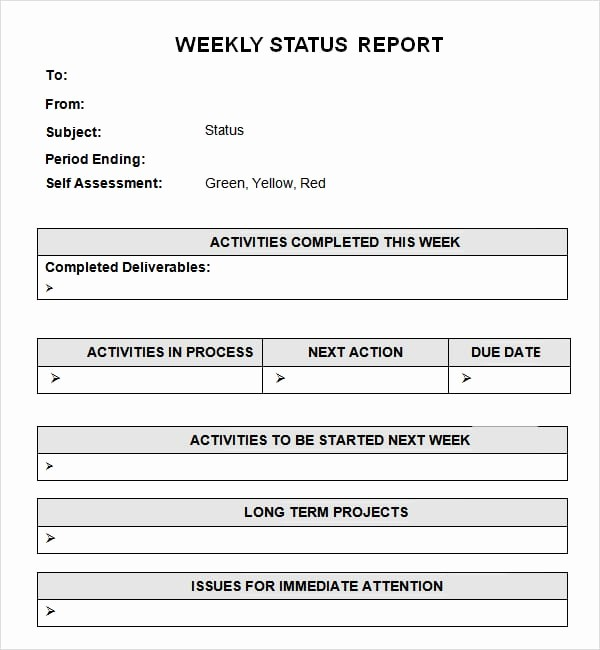 weekly status report templates