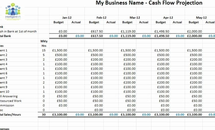 Projected Cash Flow Statement Template Awesome Cash Flow Projection Template for Business Plan