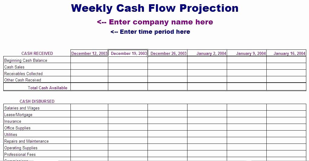 Projected Cash Flow Statement Template Fresh 13 Week Cash Flow Statement
